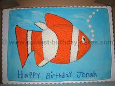 Finding Nemo cake using a football pan - wonder if it could be turned into a whale?