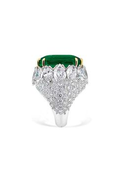 An impressive 47.72 carats Colombian emerald and diamond ring, by David Webb