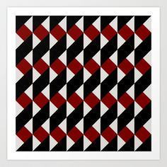 Pattern Black and Red Art Print by Sonia Marazia - $15.60