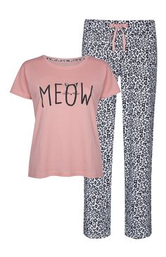 Ensemble pyjama rose imprimé animal