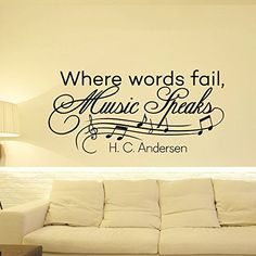 Music Notes Wall Decals Quotes Vinyl Lettering Where Words Fail Music Speaks Hans Christian Andersen Wall Decal Quote Art Home Decor Q002 FabWallDecals http://www.amazon.com/dp/B00WIDXZFE/ref=cm_sw_r_pi_dp_jYGtvb0FEBP84