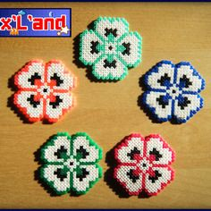 Flower coasters hama mini beads by Pixl and
