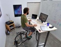 The Kickstand Cycling Desk is an office desk that lets you ride your bike while working. Simply set your bike under your desk, and start working and pedaling. Violetta Outfits, Treadmill Desk, Eco Design, Smart Design, Stand Up Desk, Large Desk, Work Desk, Stay In Shape, Workplace