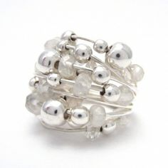 Rainbow moonstone and silver ball ring Silver Jewelry, Silver Rings, Rainbow Moonstone, Pendants, Stud Earrings, Bracelets, Jewellery, Beautiful, Bangle Bracelets