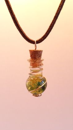 Shop for on Etsy, the place to express your creativity through the buying and selling of handmade and vintage goods. Green Necklace, Gold Necklace, Pendant Necklace, Glass Vials, Peridot, Mystic, My Etsy Shop, Charmed, Sterling Silver