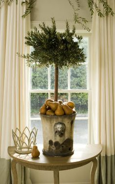 Window panels with two tones, subtle and pretty! Rosemary topiary with pears-beautiful!