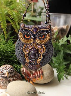 Owl - pendant embroidered with Japanese beads, beautiful amethyst and amber.