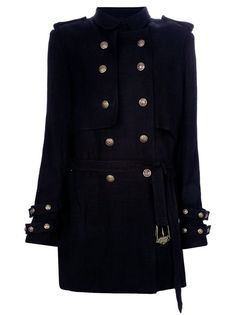 Lovely. Black linen classic trench coat from Balmain featuring a storm flap, a wind flap, double-breasted button fastenings through  the front, a belt with buckle, button-fastening epaulets, Front slit pockets and  long sleeves with buttoned straps. Designer stamped gold-tone bull-embossed buttons throughout.