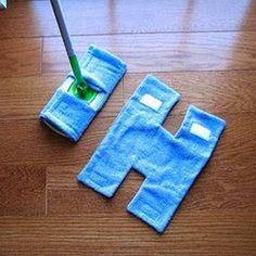 Make your own REUSABLE SWIFFER using old TOWELS and VELCRO. Use your current mop to measure for sewing. So smart!