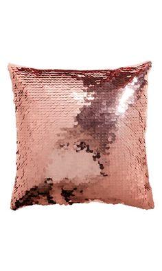 H&M Funda cojin lentejuelas rosa cobrizo