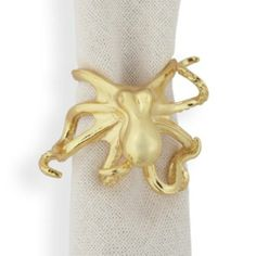 Octopus Napkin Ring - Set of 4 - Gold from Z Gallerie