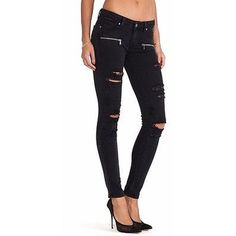 Pre-owned Paige Black Ramone Indio Zip Ultra Skinny Destructed Jeans... ($130) ❤ liked on Polyvore featuring jeans, none, black jeans, black distressed jeans, skinny leg jeans, ripped skinny jeans and torn skinny jeans