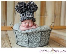 Baby Boy Hat Newborn - Knit Blue and Brown with Pom Poms