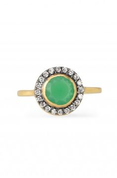 Gold & Cubic Zirconia Cocktail Ring With Green Glass | Suzanne Ring | Stella & Dot