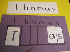Create a name puzzle for your preschooler Teach Preschool Preschool Names, Preschool Literacy, Preschool Lessons, In Kindergarten, Learning Activities, Preschool Activities, Teach Preschool, Daycare Names, Transportation Activities