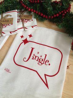 Retro Christmas Jingle Tea Towel Holiday Flour Sack by KitchTowels, $8.00