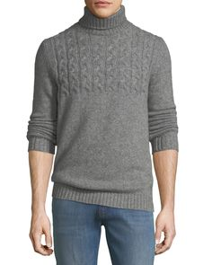 Il Borgo Mixed Cable-knit Cashmere-blend Turtleneck In Gray Joey Tribbiani, Cable Knit, Neiman Marcus, Cashmere, How To Make, How To Wear, Men Sweater, Turtle Neck, Pullover