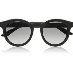 Gucci Round-frame acetate sunglasses ($170) ❤ liked on Polyvore featuring accessories, eyewear, sunglasses, glasses, sunglasses/glasses, black, uv protection sunglasses, uv protection glasses, round lens sunglasses and gucci glasses