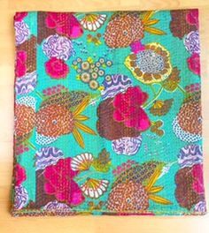 Cotton Kantha Reversible Quilt in Teal Green