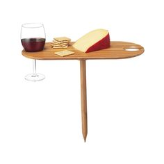 Bamboo Wine Table | Wine Glass Holder & Outdoor Tray | UncommonGoods