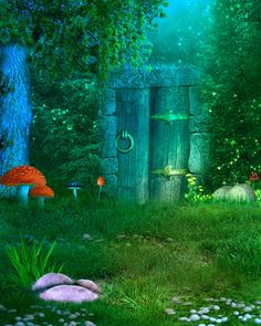 Fantasy hideaway BG stock by Moonglowlilly on deviantART Fantasy Landscape, Fantasy Art, Castle Mural, Fantasy Background, Background Clipart, Mushroom Art, Fantasy Places, Fairy Art, Moon Art