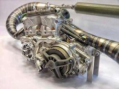 Aprillia 250cc inline twin motor for world championship motorcycle racing 95--105 BHP