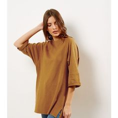 New Look Yellow Seam Trim 3/4 Sleeve Oversized Top (£18) ❤ liked on Polyvore featuring tops, blouses, corn yellow, oversized blouse, oversized tops, brown blouse, new look blouses and 3/4 length sleeve tops