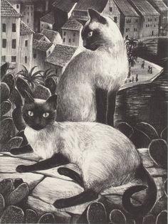 The Sailor's Cats, lithograph - Agnes Tait (scheduled via http://www.tailwindapp.com?utm_source=pinterest&utm_medium=twpin)
