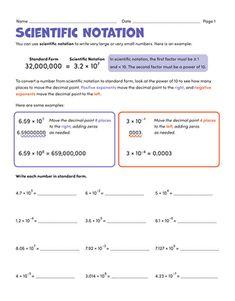Scientific Notation | Worksheet | Education.com