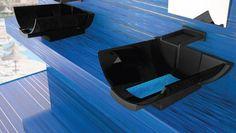 Cuba de mesa / em vidro de Murano / design original / com espelho ajustável CALLA BLACK/BLUE GLASS DESIGN Srl