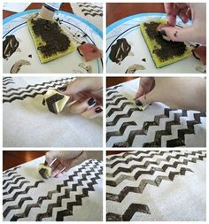 use potato stamp to create chevron pattern