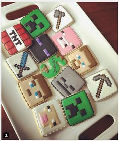 """SweetsByMee on Instagram: """"Minecraft theme cookies for a very special birthday boy! #cookies #cookieart #sweetsbymee #customcookies #minecraft #minecraftcookies…"""" • Instagram"""