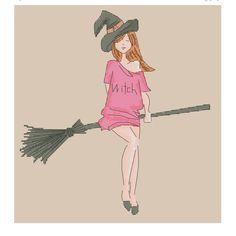 Halloween Cross Stitch, witch hat,halloween cross stitch pattern, witch broom,stranger things cross stitch, witch cross stitch, instant download, Cute Cross Stitch, stranger things cross stitch, witch cross stitch,