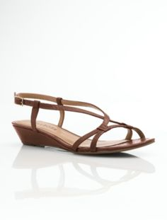 Talbots - Casey Wrapped Cross-Strap Boa-Embossed Leather Sandals |  | Medium