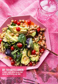 My Favorite Stacked Salad Lunch // take a megabite Healthy Salad Recipes, Raw Food Recipes, Vegetarian Recipes, Cooking Recipes, Soup And Salad, Jar Salad, Champagne Vinaigrette, Champagne Vinegar, Make Ahead Salads
