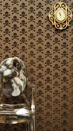 Bronze on bronze skull wallpaper Accent wall in the boys room? They'd love it!