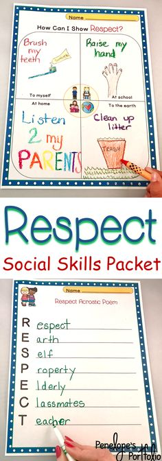 Respect is an essential life skill. This Character Education - Social Skills Packet is filled with lessons teaching children respect, and is also handy for classroom management. Resources may be used by teachers, school counselors, homeschooling parents, speech therapists, and other specialists.  https://www.teacherspayteachers.com/Product/RESPECT-Character-Education-Packet-2043505