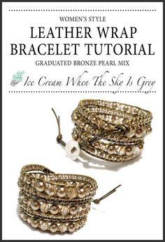 DIY Tutorial: Bracelets / DIY Bracelet Tutorial: Swarovski Bronze Pearl & Crystal Golden Shadow Graduated Mix On Kansa Leather - Bead