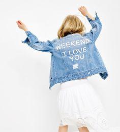 Image 1 of Denim jacket from Zara Moda Tween, Tween Mode, Preteen Fashion, Fashion Kids, Zara Kids, Customised Denim Jacket, Kids Collection, Old Navy Toddler Girl, Designer Baby Clothes
