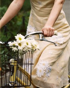 yellow bicycle with a wire basket, yes please - daisy arrangement optional but appreciated