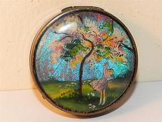 Vintage Art Deco French Powder Compact Butterfly Wing Picture COTY Paris