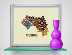 Guinea Map Art Print Wall Decor, Guinea Poster African Art Print, Conakry Map West Africa, African Map Poster AVAILABLE @ $15