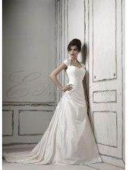 Silk Dupion Cap Sleeves A-line Wedding Dress