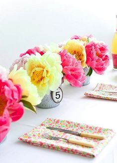 Bright pink floral table setting, perfect for spring and summer