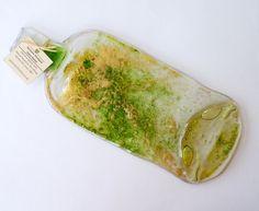 Melted bottle flattened bottle green gold spoon by KilnFiredArt, £14.00