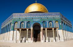The Al-Aqsa Mosque in Jerusalem has vibrant turquoise mosaic tiles and a gigantic golden dome. The site is said to be the third holiest in Islam after Mecca and Medina and hosts daily prayers and large Friday services.