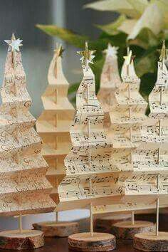B.I.G. Tip of the Day! Turn old music sheets, wooden skewers and little wood slices into Christmas Tree Decor!