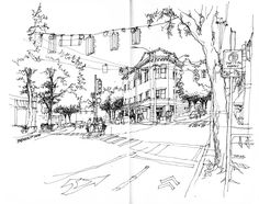 Frank Ching, Fremont corner urban sketch (note trees)