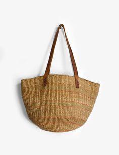 Vintage Jute & Leather Market Tote Bag by twigandspokevintage,
