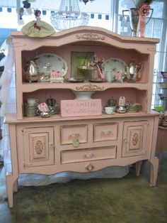 Shabby Chic buffet and hutch Shabby Chic Pink, Shabby Chic Cottage, Cozy Cottage, Vintage Shabby Chic, Shabby Chic Decor, Cottage Style, Chabby Chic, Vintage Romance, Small Furniture